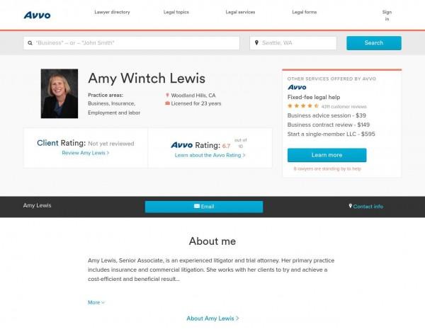 Amy Lewis, Esq. AVVO.com