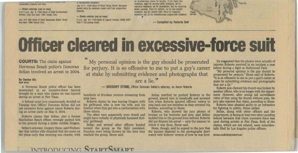 Greg Stone featured in the Daily Breeze: Exessive Force